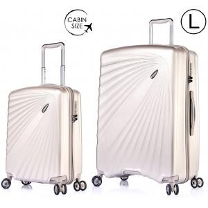 """Комплект чемоданов """"Verage"""" серия KINETIС, белое золото, размеры (S/L)"""