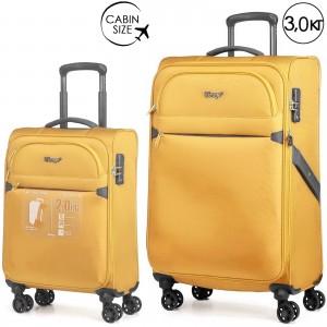"""Комплект чемоданов """"Verage"""" серия FLIGHT, золотисто-желтый, размеры S/L (33/95-114л)"""