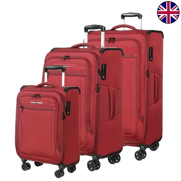 """Комплект чемоданов """"Verage"""" серия VEZDEHOD, бордовый, размеры (S/M/XL)"""