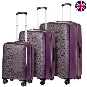 """Комплект чемоданов """"Verage"""" коллекция DIAMOND красный виноград, размеры (S+/M+/XL)"""